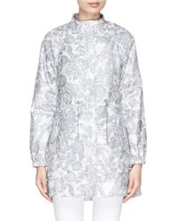 Tory Burch 'Shirley' Floral Print Coated Jacket gray - Lyst