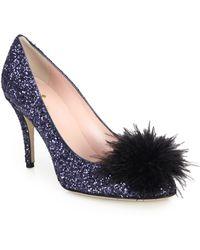 Kate Spade | Dahlia Glittered Feather Pom Pom Pumps | Lyst