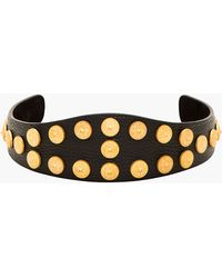 Valentino Black Leather and Gold Studded Crown Hair Band - Lyst