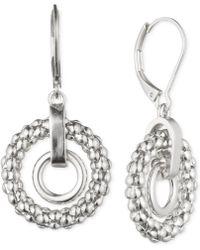 Anne Klein - Double Circle Drop Earrings - Lyst