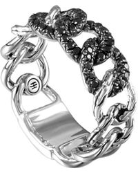 John Hardy Lava Round Link Band Ring With Black Sapphire - Lyst