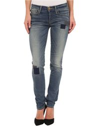 True Religion Victoria Mid Rise Skinny with Patchwork in Beaten Trail - Lyst