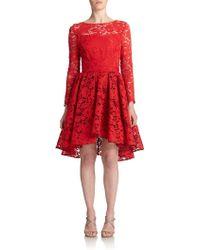 ABS By Allen Schwartz Hi-Lo Lace Cocktail Dress - Lyst
