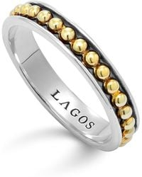 Lagos | 18k Green Gold And Sterling Silver Enso Stack Ring | Lyst