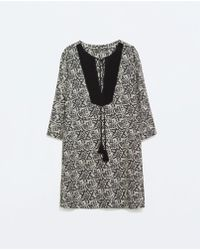 Zara Mixed Fabric Bib Dress - Lyst