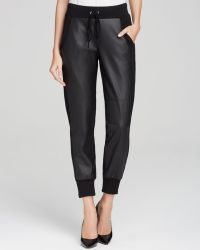 Velvet By Graham & Spencer Sweatpants - Faux Leather Combo black - Lyst