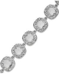 Kate Spade Rhodium-Plated Crystal Pavé Flex Bracelet - Lyst