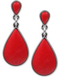 Lucky Brand Silvertone Red Stone Drop Earrings - Lyst