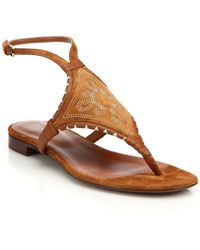 Sergio Rossi | Maya Embroidered Flat Sandals | Lyst