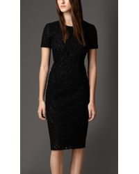 Burberry Floral Lace Shift Dress - Lyst