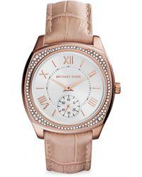 Michael Kors Bryn Glitz Rose Goldtone Stainless Steel & Crocodile-Embossed Leather Strap Watch - Lyst