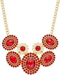 Style & Co. - Gold-tone & Red Circle Stone Frontal Necklace, Only At Macy's - Lyst