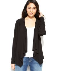 Eileen Fisher Solid Draped Cardigan - Lyst