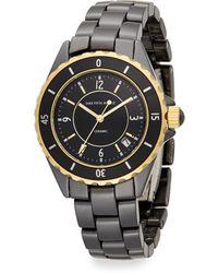 Saks Fifth Avenue Ceramic Round Goldtone Rotating Bezel Watch - Lyst