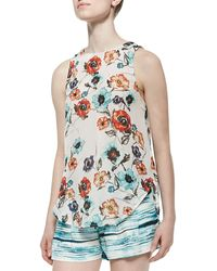 Haute Hippie Floral-print Cowl-back Blouse - Lyst