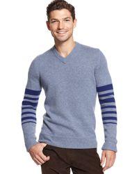 Tommy Hilfiger Omar Engineered Stripe V-Neck Sweater - Lyst
