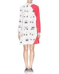 Anna K Contrast Panel Eye Print Shirt Dress multicolor - Lyst