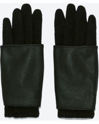 Zara Mixed Knit Gloves - Lyst