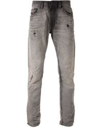Diesel Gray Distressed Jeans - Lyst