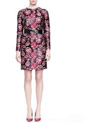 Lanvin Bracelet-Sleeve Floral-Jacquard Sheath Dress red - Lyst