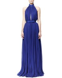 Alexander McQueen Pleated Harness-Back Chiffon Gown - Lyst