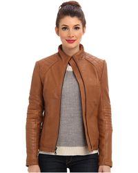 DKNY Zip Front Leather Scuba Jacket Y4 - Lyst