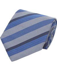 Armani Blue Diagonalstripe Tie - Lyst
