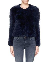 Alice + Olivia Marlene Zigzag Rabbit Fur Crop Jacket - Lyst