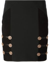 Versace Gold Button Mini Skirt - Lyst