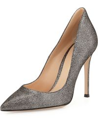 Gianvito Rossi Crackled Metallic Point-Toe Pump - Lyst