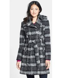 Vince Camuto Plaid Trench Coat  - Lyst