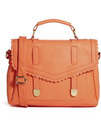 Asos Satchel Bag with Scallop Flap and Slot Through Straps - Lyst