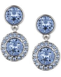 Givenchy Silver-Tone Blue Crystal Double Drop Earrings - Lyst