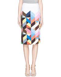 Preen By Thornton Bregazzi Geometric Print Pencil Skirt - Lyst