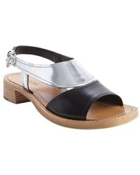 Prada Black and Silver and Tan Open Toe Sandals - Lyst
