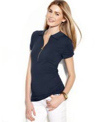 Michael Kors Michael Short-Sleeve Ruched Polo Top - Lyst