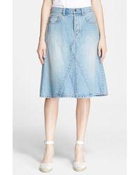 Marc By Marc Jacobs 'Icon' Slub Denim Midi Skirt - Lyst