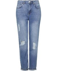 Topshop Womens Moto Ripped Mom Jeans  Mid Stone - Lyst