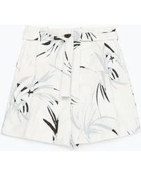 Zara Printed Bermuda Shorts With Pleats - Lyst
