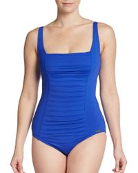 Calvin Klein Pintuck Pleated Maillot Swimsuit - Lyst