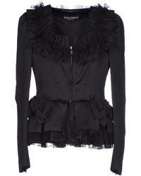Dolce & Gabbana Lace Trimmed Tux Jacket black - Lyst