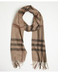 Burberry Dark Beige and Smoke Giant Check Cashmere Scarf - Lyst