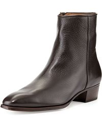 Gravati Leather Side-Zip Ankle Boot - Lyst