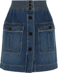 Chloé Stonewashed Denim Mini Skirt - Lyst