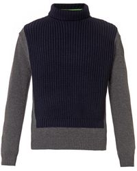 Kenzo Colour-block Roll-neck Sweater - Lyst