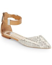 Dolce Vita Embossed Leather Ankle Flats - Lyst