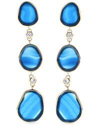 Isharya | Three Stone Goldplated Earrings | Lyst