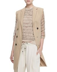 Brunello Cucinelli Long Double-breasted Vest W Fringe - Lyst