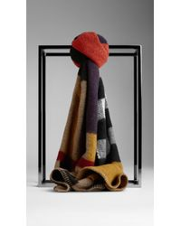 Burberry Colour Block Check Wool Cashmere Scarf - Lyst