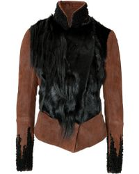 Donna Karan New York Leather Jacket with Fur Paneling - Lyst